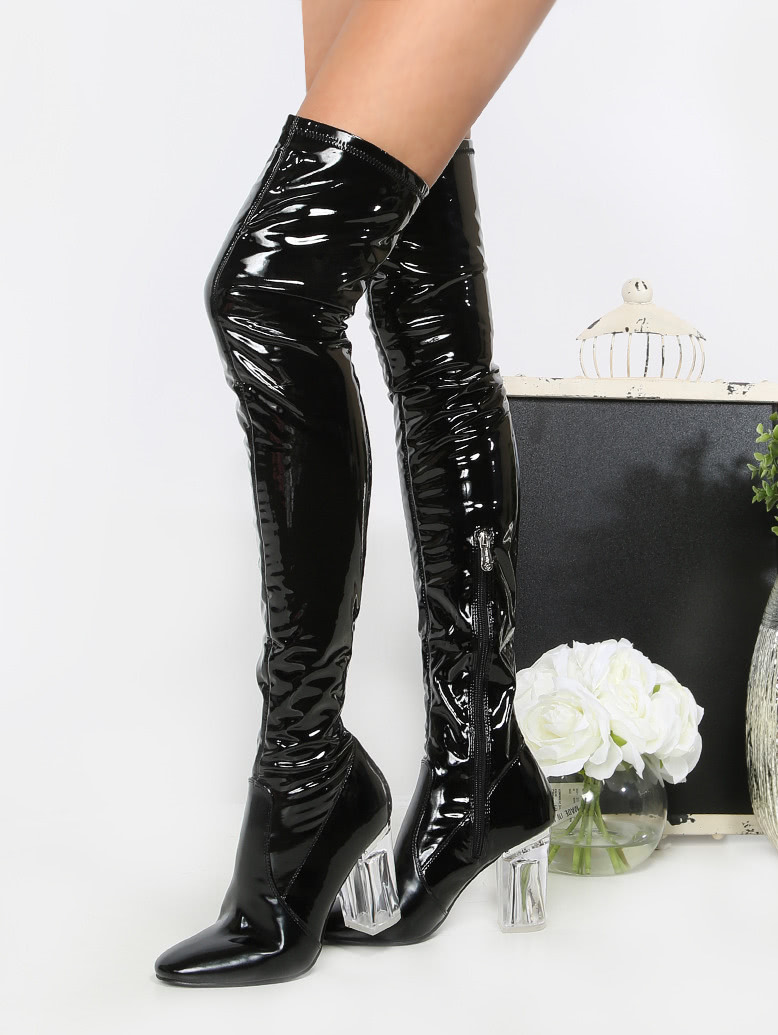 patent clear heel thigh high boots black shein sheinside