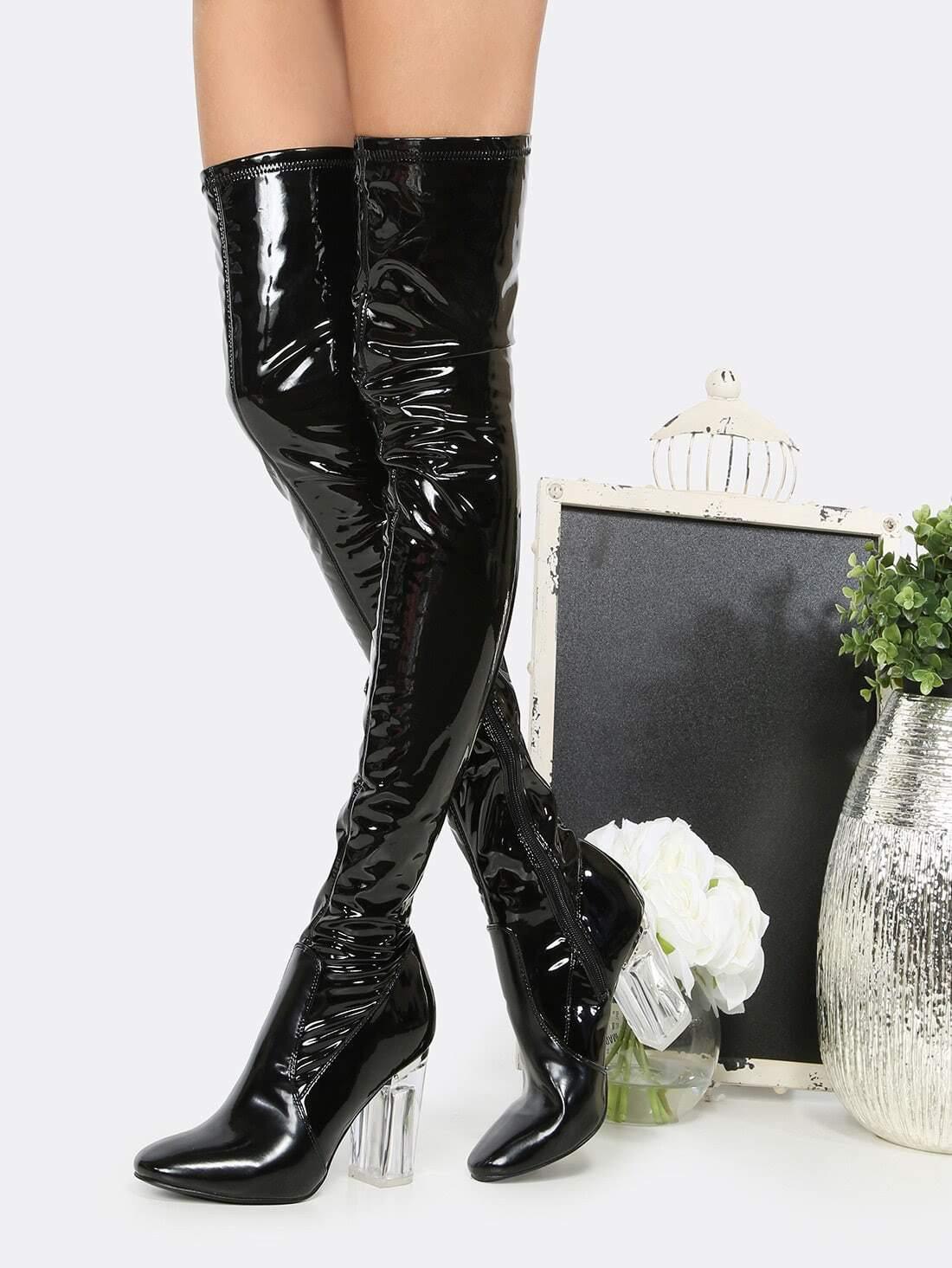 patent clear heel thigh high boots black shein sheinside