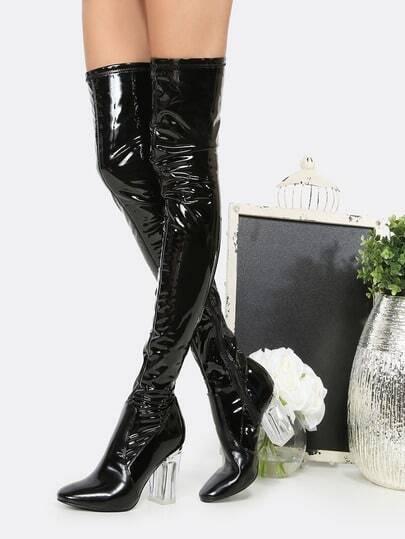 Patent Clear Heel Thigh High Boots BLACK -SheIn(Sheinside)