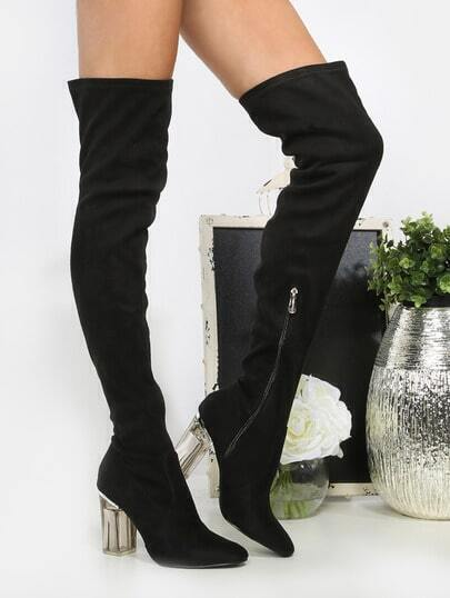 Faux Suede Crystal Heel Thigh Boots BLACK