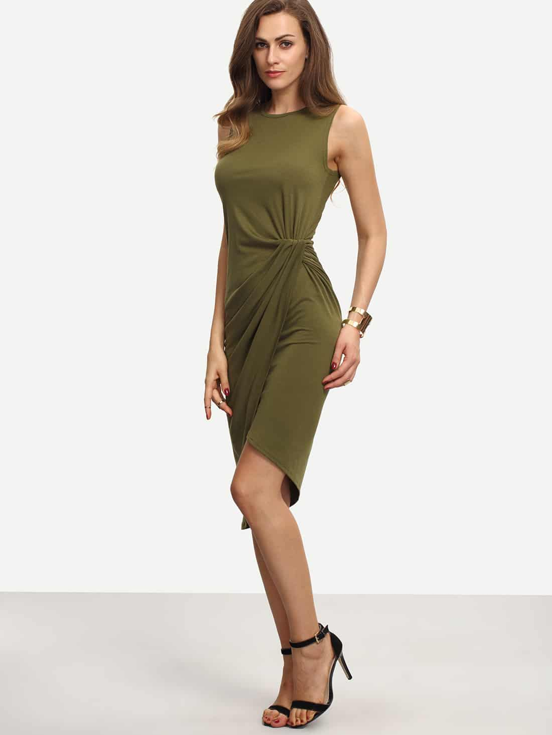 Купить Облегающее асимметричное платье цвета хаки с запахом, Mary, SheIn