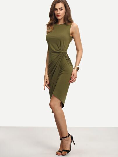 Army Green Sleeveless Knot Sheath Dress 963136ce3a41