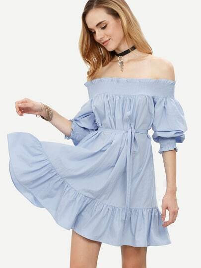 Blue Off The Shoulder Tie Waist Ruffle Dress