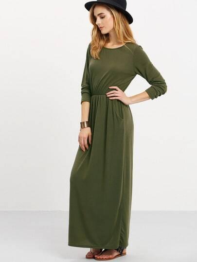 8d7370f850 Robe longue manches longues avec poches ,vert kaki ,French SheIn(Sheinside)  ...