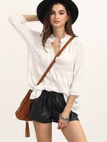 White V Neck Three Quarter Sleeve Blouse