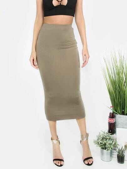 Army Green Casual Basic Skirt