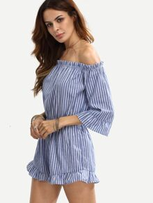 Striped Off The Shoulder Flounce Jumpsuit