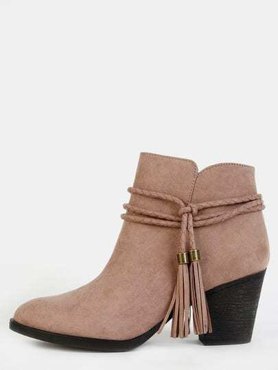 Faux Suede Braided Tassel Boots TAUPE