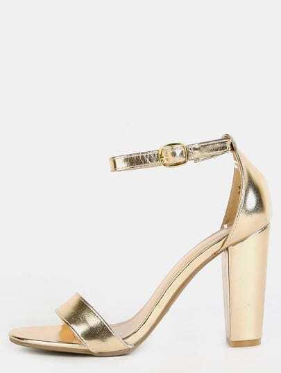 Metallic Open Toe Chunky Heels GOLD