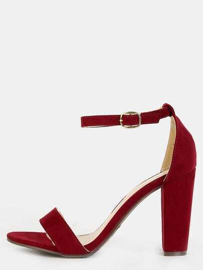 Faux Suede Ankle Strap Chunky Heels BURGUNDY