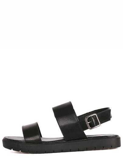 Black Strap Flatform Buckled Sandals