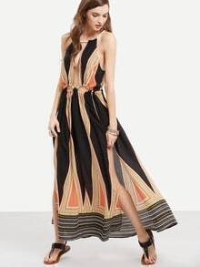 Multicolor Halter Neck Backless Cut-out Waist Maxi Dress