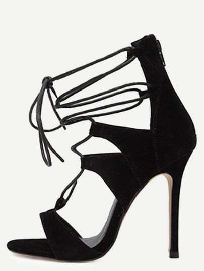 Black Open Toe Cutout Strappy Stiletto Sandals