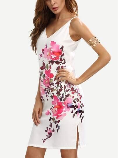 Multicolor Floral V Neck Sleeveless Split Dress