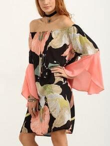 Off-The-Shoulder Bell Sleeve Multicolor Flower Print Dress