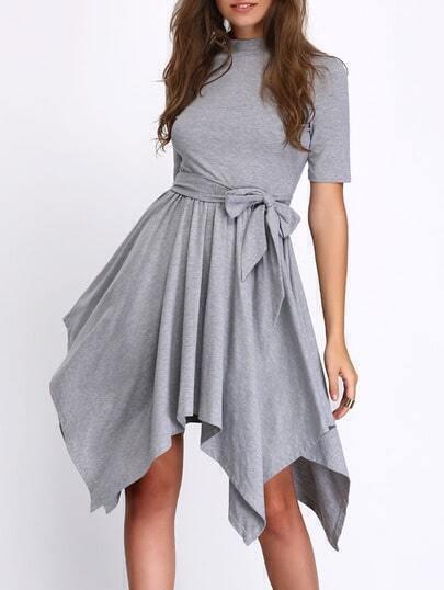 Grey Self-tie Waist Asymmetric Hem Shift Dress