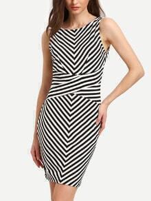White Black Sleeveless Striped Backless Bodycon Dress