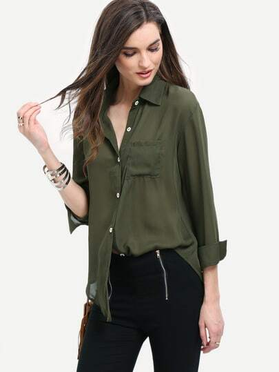Pocket Front Button Up Blouse
