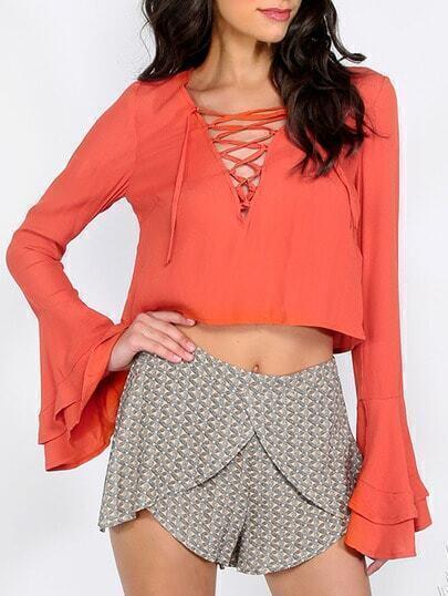 Orange Bell Sleeve V Lace-up Blouse