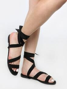 Open Toe Faux Suede Sandals BLACK