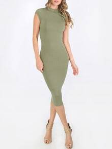 Army Green Cap Sleeve Sheath Dress