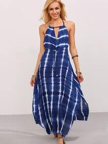 Blue Tie Dye Print Keyhole Backless Dress