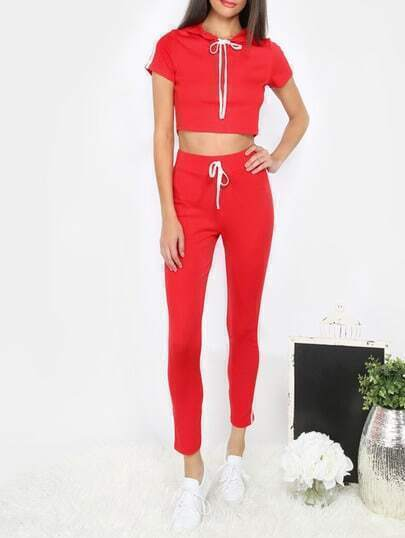 Red Cap Sleeve Crop Top With Pants