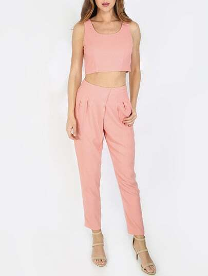 Pink Cop Top With Casual Pocket Pants
