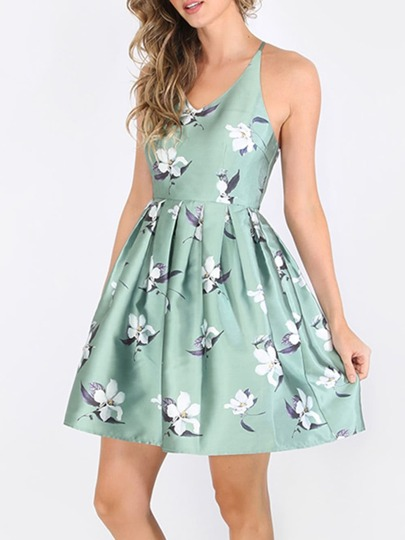 Flower Print Criss Cross Flare Dress