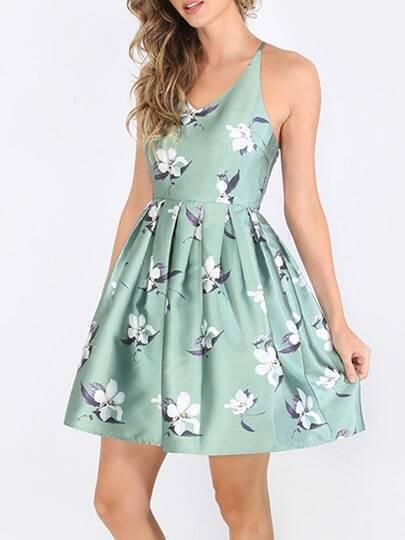 Multicolor Striped Flower Print Crisscross Dress