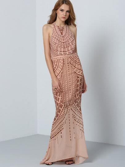 Halter Open Back Maxi Dress