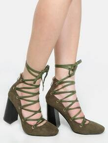 Chunky Heel Lace Up Pumps OLIVE