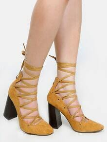 Faux Suede Lace Up Pumps CAMEL