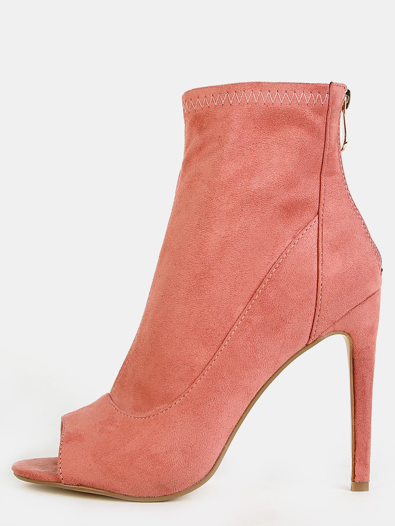 Faux Suede Stiletto Ankle Boots DUSTY ROSE