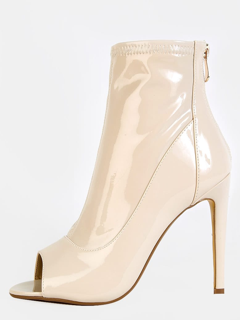 Patent Stiletto Ankle Boots NUDE mmcboot-corina5-nude
