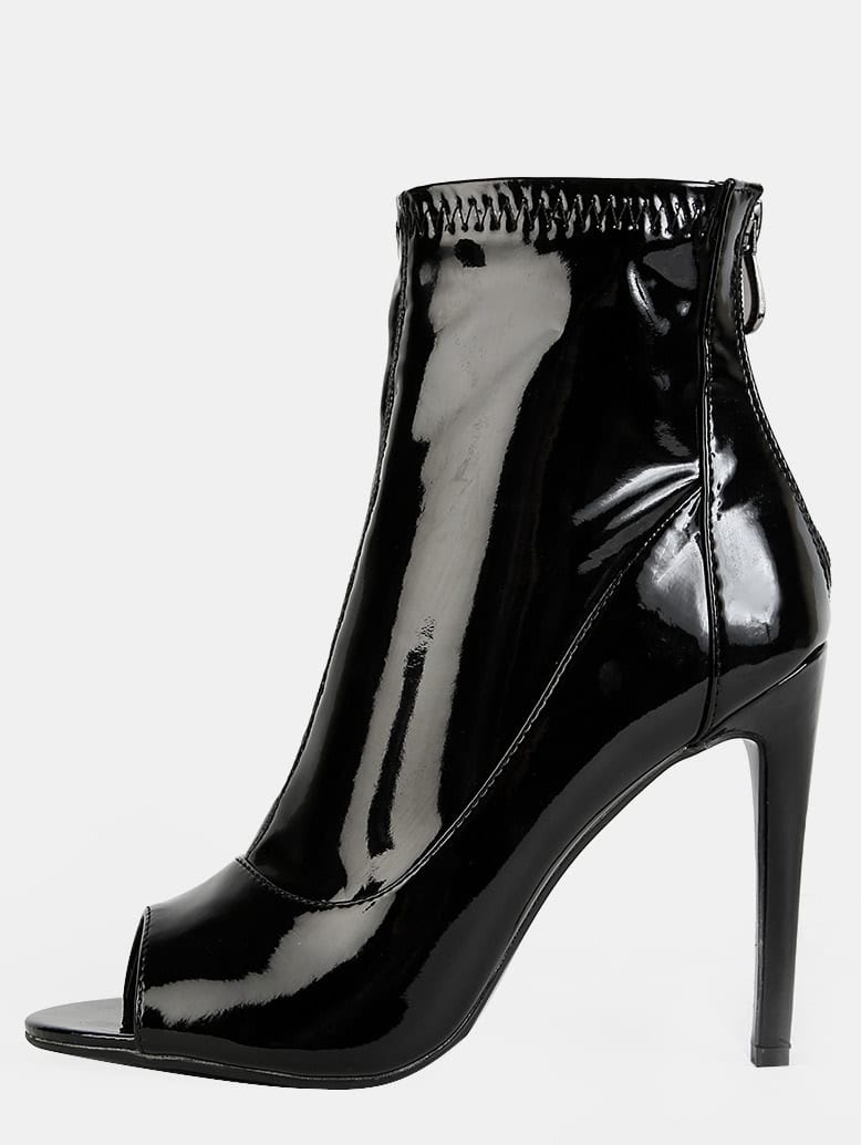 Patent Peep Toe Ankle Booties BLACK