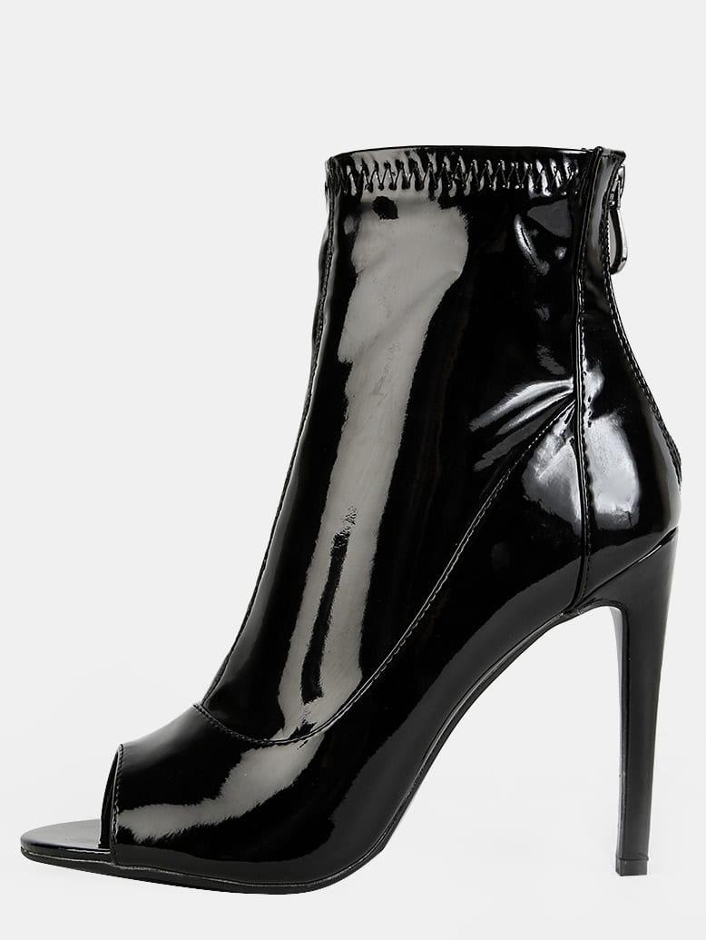 Patent Peep Toe Ankle Booties BLACK