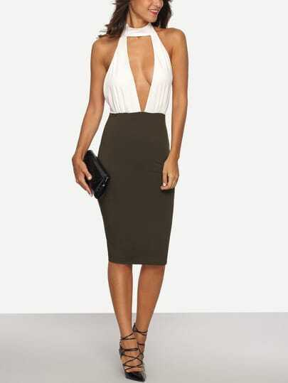 Exposed Halterneck Backless Sheath Dress