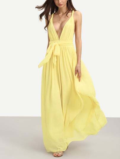 Yellow Sleeveless V Neck Tie Waist Maxi Dress