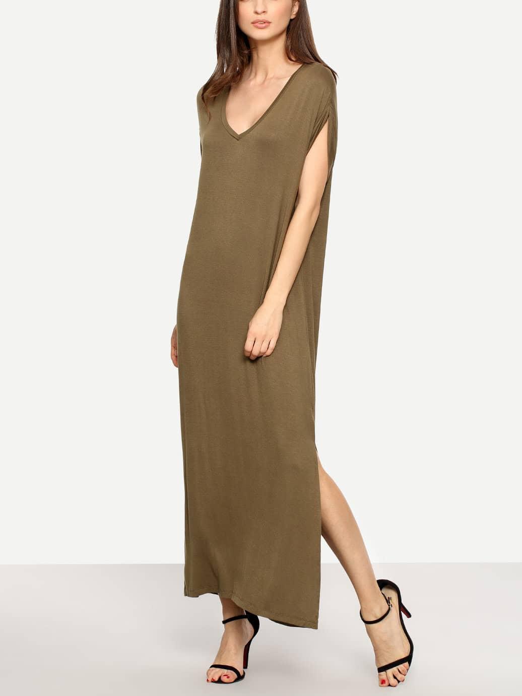 Plunging V-neckline Slit Full Length Dress
