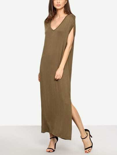 Plunging V-neckline Slit Full Length Dress