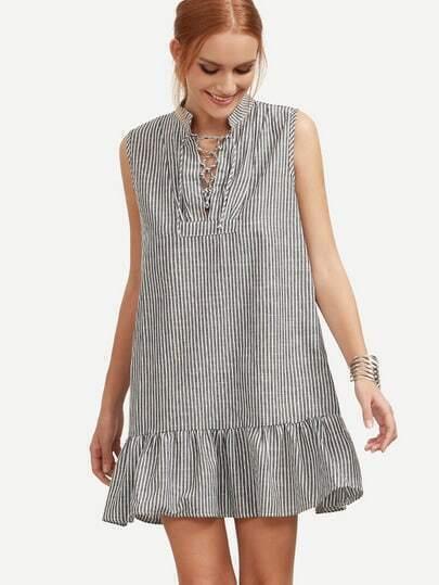 Black Vertical Striped Lace-Up Ruffled Hem Dress