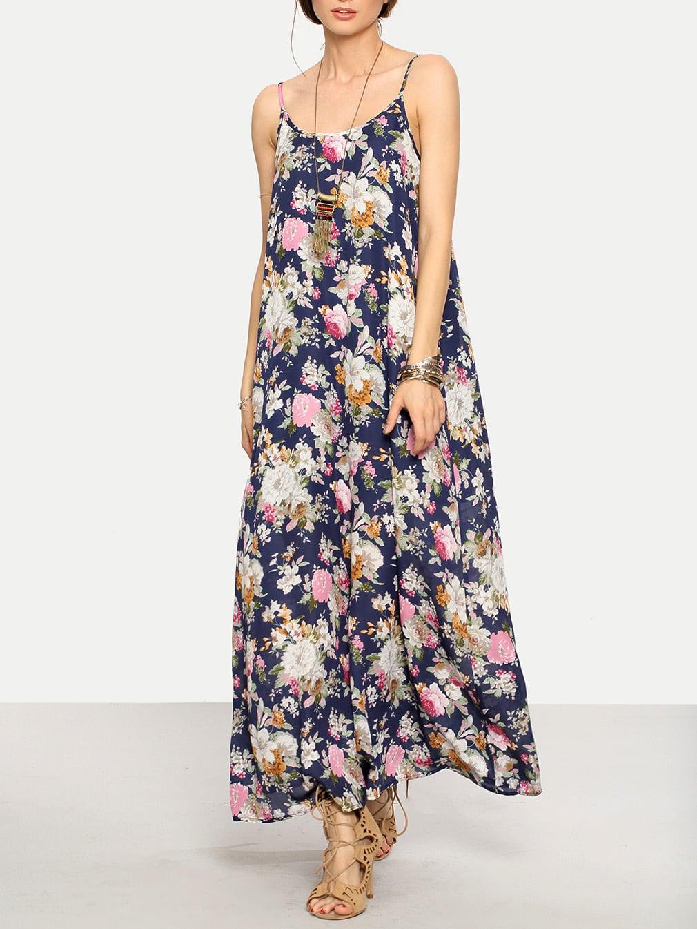 Cami Straps Floral Print Maxi Dress