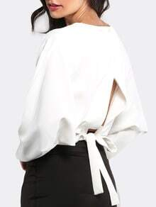White Open Tie Bow Back Long Sleeve T-shirt