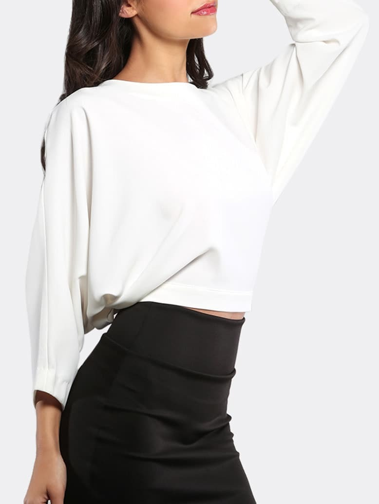 White open tie bow back long sleeve t shirt shein sheinside for How to make a tie back shirt