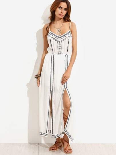 White Embroidered Double Slit Front Cami Dress