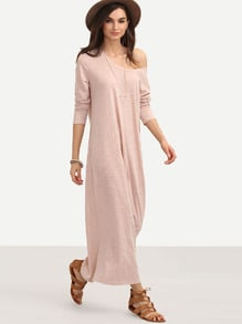 Pink Casual Long Sleeve Shift Dress