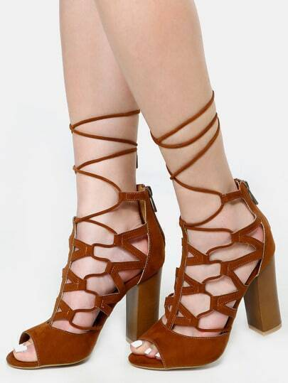 Faux Suede Lace Up Chunky Heels CHESTNUT