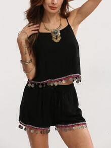 Black Spaghetti Strap Top With Shorts