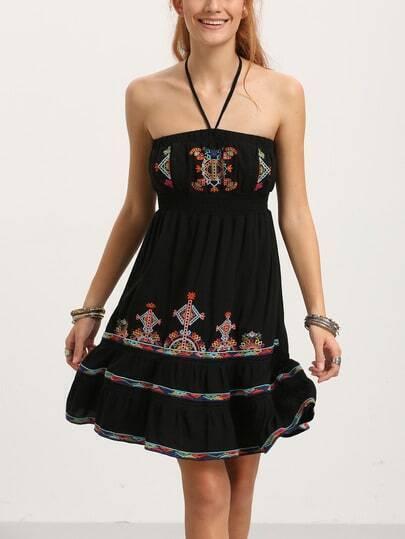 Black Halter Embroidered Ruffle Hem Dress